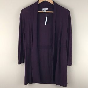 NWT Loft wine color tunic open front cardigan Sz S
